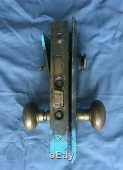 Laiton Antique Porte D'entrée Bouton Set Retour Plaques Serrure À Mortaise Vtg Yale Old 460-19j