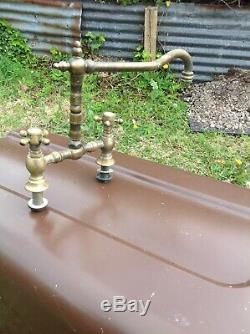 Laiton Massif Mélangeur Antique Très Rare Cuisine Taps Vieux Millésime Belfast Sink