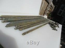 Laiton Victorienne Escalier Rods X13 + X26 Clips Antique Tapis Vintage 32 Longueur