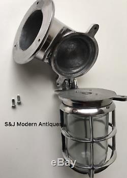 Lampe Murale Vintage Industrielle Applique Cloison Marine En Aluminium Argenté