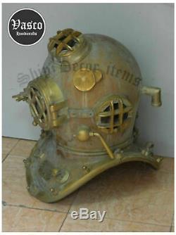 Look Vintage Plein Taille 18 Ancienne Casque De Plongée Ancien Mark V Deep U. S. Navy Diver