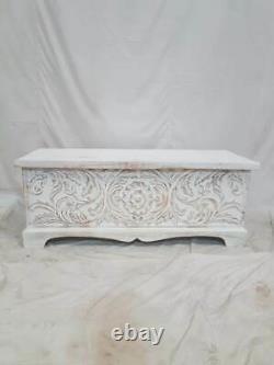 Made To Order Antique Vieille Main Indienne Sculptée Blanche Laver Table Basse En Bois