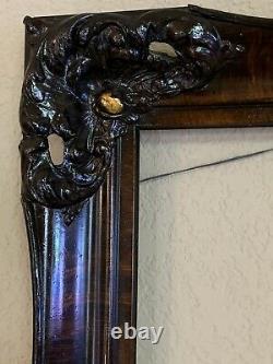 Magnifique Antique Ornate Peinture À L'huile De Bois Sculpté Cadre De L'image 16x20 Vieux Vintage