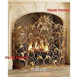 Nouveau Horchow French Acanthus Antique Ornate Ancien Écran De Cheminée En Or Gold