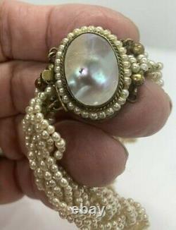 Old Antique Georgian Seed Perle Rope Choker Sculpté Pendentif Améthyste Perle Fermoir