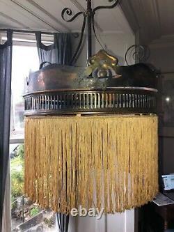 Old Antique Vintage Arts - Artisanat Edwardian Brass Fringed Ceiling Pendant Light