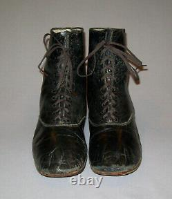 Old Antique Vtg 1900s Mens Edwardian / Victorian Leather Shoes Boots Taille 8 Nice