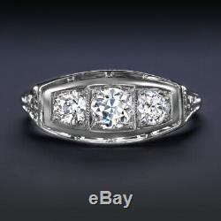 Old Cut Européenne F Si Bague De Fiançailles Diamant Vintage 3 Pierre Antique Art Déco