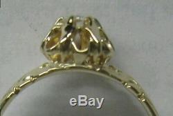 Old Diamond Cut Européenne Antique Victorienne Dans Belcher De Réglage. Liquider