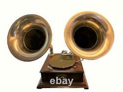 Old Talking Machine Vintage Hmv Phonographe Double-horn Antique Gramophone Bg 028