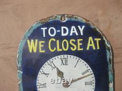 Old Vintage Antique Enamel Sign Shop Advert Hudson's Clock