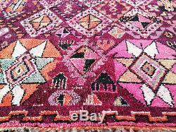 Old Vintage Marocaine Fait À La Main Boujaad Tapis Beni Ourain De La 6'7x11'6 Azilal