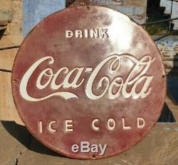 Old Vintage Rare Antique Coca Cola Ice Cold Émail Board Sign 1930