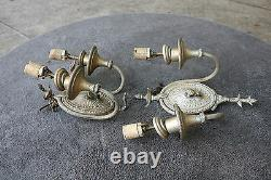 Pair Vintage Antique Lampe Lumière Vieux Mur Fixation Sconce Ornate Pièces Ambassade Kd