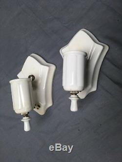 Paire De Vtg Appliques De Luminaire En Porcelaine Blanche Et Céramique Ancienne Salle De Bains Chic 285-17e