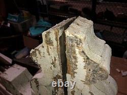 Paire Vintage Victorian Age Corbel Porche 1880 15 X 13 X 3,75 Vieux Blanc