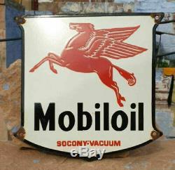 Panneau De Signalisation En Émail Porcelaine Mobil Huile Vintage Très Antique