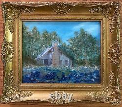 Peinture À L'huile Vintage-bluebonnet Paysage-antique Old Home-ornate Frame