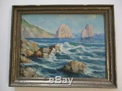 Peinture Antique Petit Bijou De Cru Paysage Marin Côte Océan Mer Gianni Old