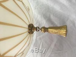 Pendentif Lumière Antique En Laiton Victorien Vieil Or Guild Glencé Au Pochoir Vtg 34-18e