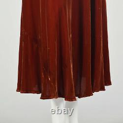 Petite Robe De Velours En Soie Des Années 1930 Tawny Old Hollywood Glamorous Gown Soirée Vtg 30s