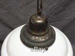 Plafond Suspendu Antique École Maison Banque Banque Lait Globe En Verre De Lait Vieux Vtg 572-18e