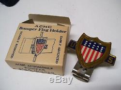 Plaque Originale 1940' Drapeau Us N ° Vintage Licence Topper Emblem Ancienne Hot Rod Rat