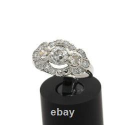 Platinum Antique Stupéfiant 1.76 Ctw Vieil European Diamond Taille De Bague 5.75 #j882-1