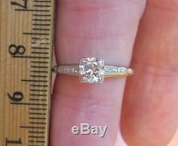 Platinum Antique Vintage Art Déco Old Cut Mine De Diamants Bague De Fiançailles De Mariage