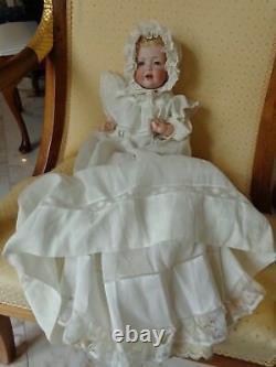 Poupée Antique Kestner Baby Doll Jdk Cute Hilda Avec Vieux Bonnet De Robe