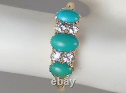 Pretty Antique Victorian 18k Or Turquoise Old Cut Diamond Scrolling Ring 10.5
