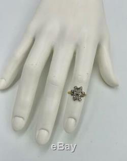 R Initial Bague Ancienne Mine De Diamant Cut Platinum Antique Victorienne Édouardienne
