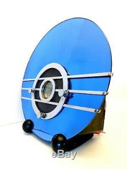 Radio Art Déco Miroir D'époque 1936 Vieux Walter Teague Sparton Bleu Miroir Bleu
