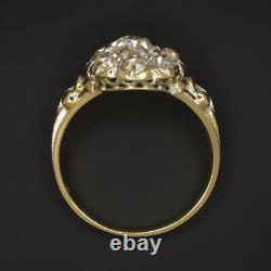 Rare 2 Carat Vieille Mine Coupée Bague De Cluster Diamant I-j Vs1 18k Or Antique Vintage