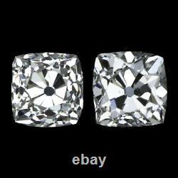 Rare 2ct Victorien Old Mine Cut Diamond Stud Boucles D'oreilles Loose Paire Coussin Antique