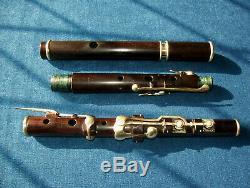 Rare Antique Vintage En Bois Vieux Flûte Irlandaise Loup & Figg 8 Clés Cocus