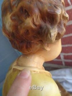 Rare Chalkware Vintage Figural Fille Chérubin Comme Enfant Bol De Poisson Stand Ancien Domaine