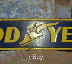 Rare Des Années 1930 Vintage Antique Goodyear Tyre Ad. Enseigne En Porcelaine D'émail