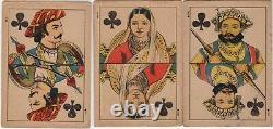 Rare Old Antique Raja Ravi Varma Square Corner Cartes À Jouer Artiste Indien Art