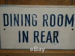 Rare Old Peinture Original'dining Chambre ' Restaurant Wood Sign Vintage Antique Blue