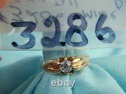 Rare Vintage 14k Or Jaune. 18ct Tw Old Miner Cut Diamond Ring 2.2g Taille 4 3/4
