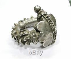 Rare! Vintage Antique Ethnique Tribal Vieux Charnière En Argent Bracelet Bracelet Fait À La Main