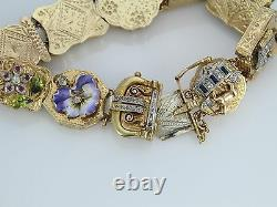 Rare Vintage Victorian 14k Or Jaune Duke Vieille Mine Bracelet De Charme Diamant 7.5