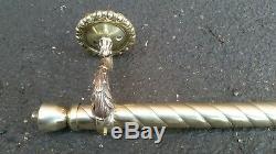 Rideau De Rideau De Laiton Rond Vintage Laiton Antique 1500mm C1920 Ancien Orn