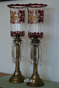 Russe Antique Verre Éclairage Vieux Victorian Bâton Porte-bâton D'huile Candelabra