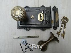 Rustique Ancien Anglais Vintage Victorienne Chambre Rim Porte Bouton Poignée Latch Set