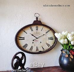 Rustique Metal Ovale Horloge Murale Vieux Monde Industriel Vintage Antique Antique Chic Rouille