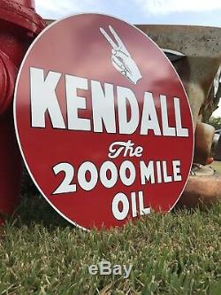 Signe À L'huile Antique Vintage Old Style 24 Kendall 2000 Mile