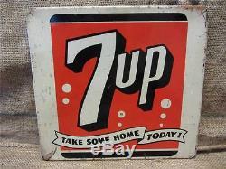 Signe D'affichage Ancien En Métal Vintage 7up Antique Boisson De Magasin De Boissons Gazeuses Popa 9125