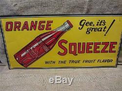 Signe De Boisson Squeeze Vintage Vintage Embossed Orange Ancien Soda Cola Orange 9139